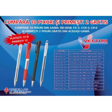 Pix transparent cu gel, cap metalic, PENAC FX-3 - rosu/PROMOTIE