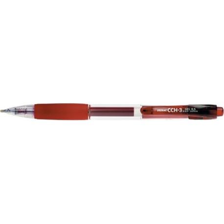 Pix cu gel PENAC CCH-3, rubber grip, corp transparent - scriere rosie