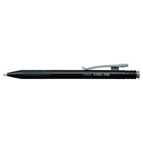 Pix PENAC X ball, cu mecanism, rubber grip, 0.7mm, corp negru cu clema colorata - scriere neagra
