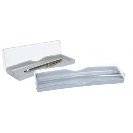 Cutie plastic transparent pentru 2 instrumente de scris, PENAC