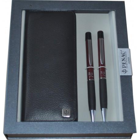 Set PENAC Fifth Ave bordeaux, pix + creion mecanic cu etui piele, in cutie cadou