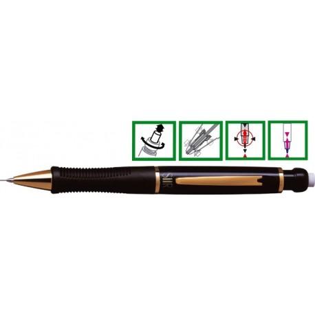 Creion mecanic de lux, 0,5mm, varf si accesorii metalice aurii, PENAC Sir Gold - negru opal