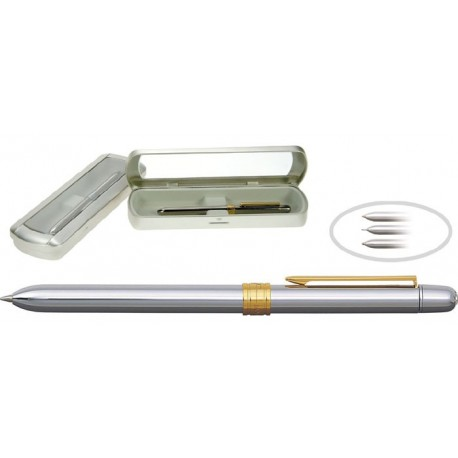 Pix metalic de lux cu doua culori/creion mecanic0.5mm, PENAC Slim-accesorii argintii-corp argintiu