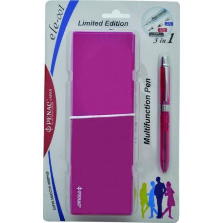 Pix multifunctional cu doua culori / creion mecanic 0.5mm, PENAC ELE 001 + penar cadou, roz