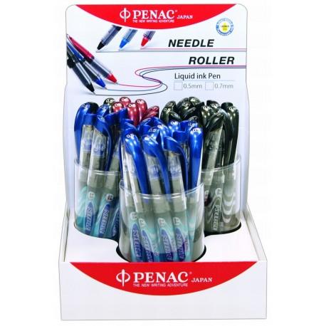 Display 48 rollere cu cerneala, 0,5mm, PENAC Liqroller Needle Point - (6xrosu, 18xnegru, 24xalbastru