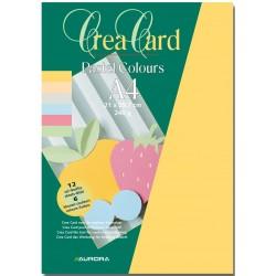 Carton color A4, 240g/mp - 12 coli/set, AURORA Raphael - 6 culori pastel