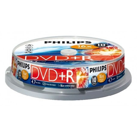 DVD+R 4.7GB, (10 buc. Spindle, 16x) PHILIPS