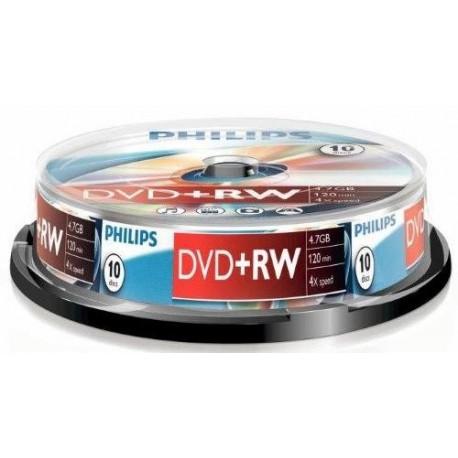DVD+RW 4.7GB (10 buc. Spindle, 4x) PHILIPS
