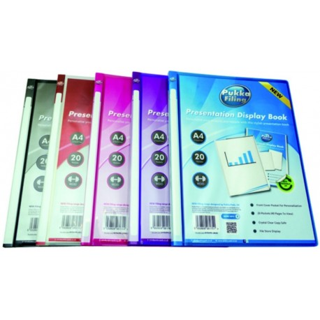 Dosar de prezentare personalizabil cu 20 folii, A4, coperta rigida, PUKKA - transparent violet