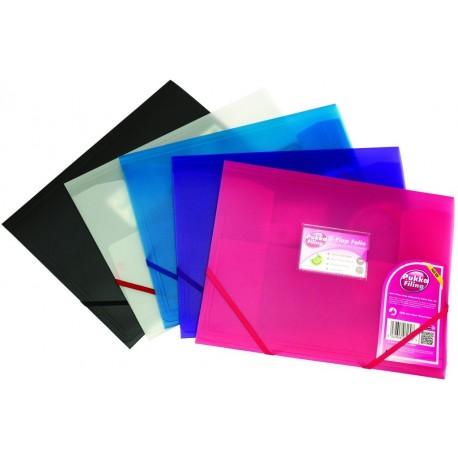 Mapa plastic cu elastic pe colturi, PUKKA - transparent violet