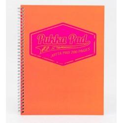 Caiet cu spirala dubla A4, 100 file 80g/mp, coperti carton, PUKKA Neon orange - matematica