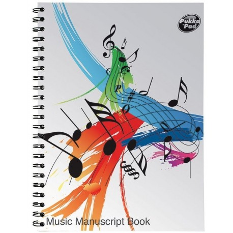 Caiet de muzica A4, cu spirala, 50 file, 80g/mp, coperti carton, PUKKA Music Manuscript - portativ