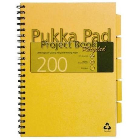 Project Book recycled A4, 100 file 80g/mp, cu spirala dubla, coperti carton Pukka Pad - dictando