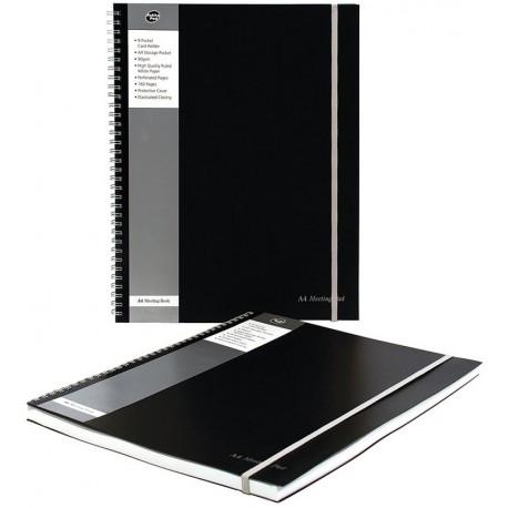Caiet cu spirala dubla A4, 80 file 90g/mp, coperti PP, cu elastic, PUKKA Black Meeting