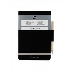 Blocnotes A7, 100 file 60g/mp, coperti carton rigid, cu elastic, + creion, PUKKA Black - dictando