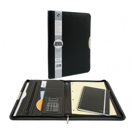 Portfolio A4, cu fermoar, buzunar expndabil, loc pentru blocnotes, calculator - negru