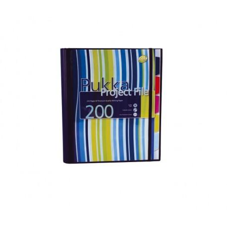 Project file A4 (caiet mecanic cu buzunar), 100 file 80g/mp, 4 inele, Pukka Pad - dictando -albastru