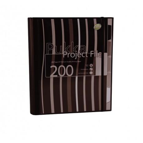 Project file A4 (caiet mecanic cu buzunar), 100 file 80g/mp, 4 inele, Pukka Pad - dictando - negru