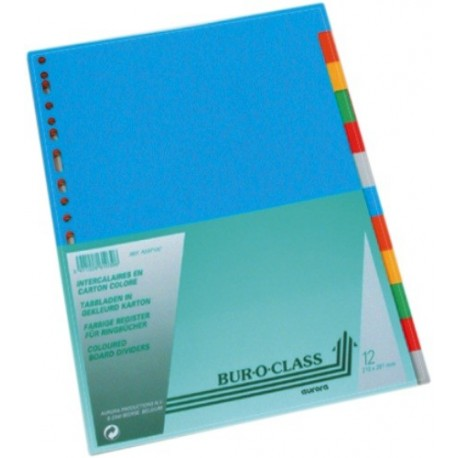Separatoare carton color A4, 230g/mp, 12/set, AURORA