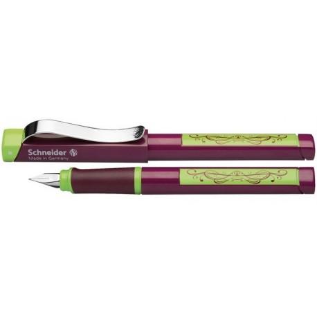 Stilou SCHNEIDER Base Neon (tip L - stangaci) - corp negru/violet