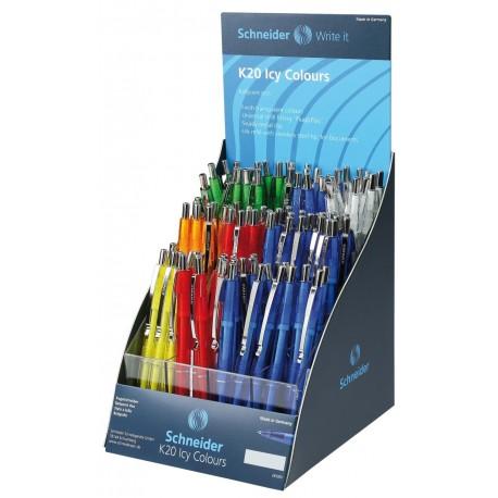 Display SCHNEIDER K20 Icy colours, 100 pixuri culori asortate - scriere albastra