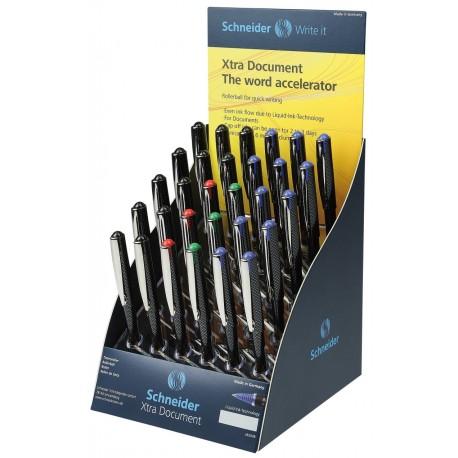 Display SCHNEIDER Xtra Document, 30 rollere cu cerneala 0.6mm - (12x albastru,negru, 3x rosu,verde)