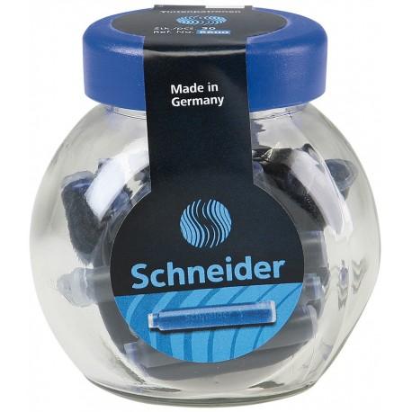 Patroane cerneala SCHNEIDER, 30buc/borcan - albastru