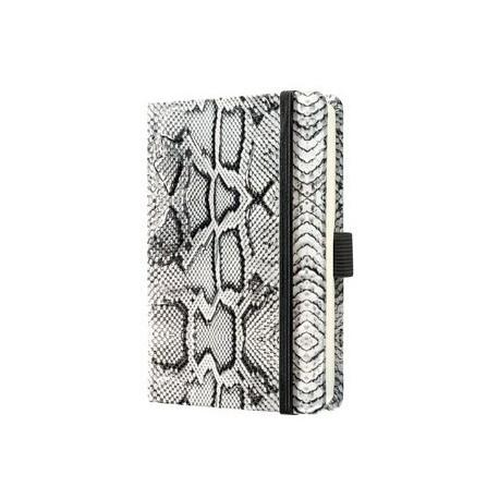 Caiet lux cu elastic, coperti imitatie crocodil, A6(95 x 150mm), 97 file, Conceptum - alb-matematica