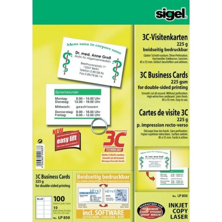 Carton carti vizita 55 x 85 mm, tehnologie 3C, ink jet lucios, 225g/mp, 10 coli A4/set, SIGEL