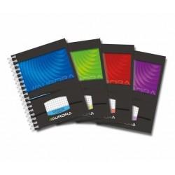 Caiet cu spirala, A6, 50 file - 90g/mp, coperti carton lucios, AURORA Mano - matematica
