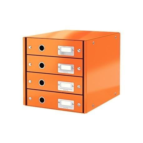 Suport cu 4 sertare, din carton laminat, LEITZ Click & Store - portocaliu