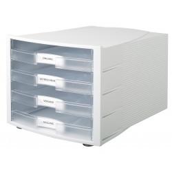 Suport plastic cu 4 sertare pentru documente, HAN Impuls (open) - gri deschis/transparent mat