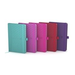 Caiet cu elastic, 9x14cm, OXFORD, coperta carton rigid, 80 file-90g/mp, dictando - culori intense
