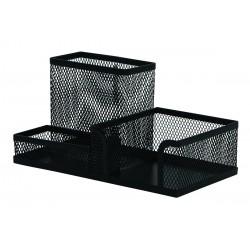 Organizer metalic Mesh, de birou, 3 compartimente, Q-Connect - negru