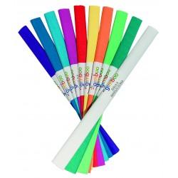 Rola hartie creponata, 50 x 200 cm, 10 culori/set, GIMBOO - culori asortate