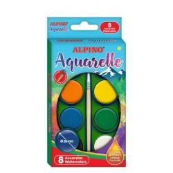 Acuarele 8 culori/cutie + 1 pensula gratis, Alpino