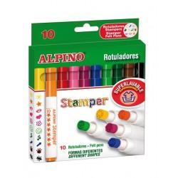 Set 10 stampile, diverse forme, cutie carton, ALPINO Fantasy