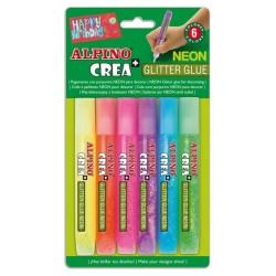 Lipici Glitter Neon, 6 buc/blister, ALPINO Crea
