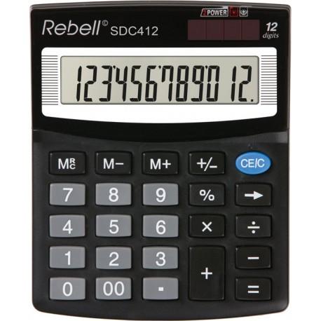Calculator de birou, 12 digits, 125 x 100 x 27 mm, Rebell SDC 412 - negru