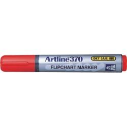 Flipchart marker ARTLINE 370 - Dry safe ink, corp plastic, varf rotund 2.0mm - rosu