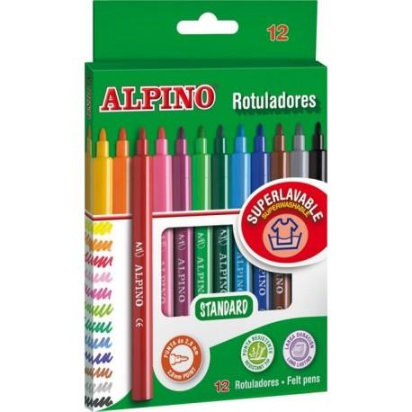 Carioca lavabila, 12 culori/cutie, ALPINO Standard
