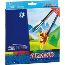 Creioane colorate acuarela, cutie carton, 24 culori/set, ALPINO Aqualine