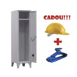VESTIAR METALIC CU PICIOARE SI 1 USA 111/01, 350x350x1800 mm+CADOU! (5 buc Umeras+Casca protectie)