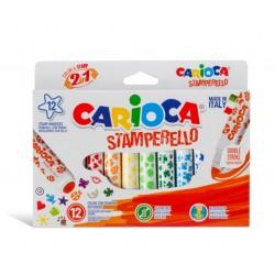 Set 12 markere cu 12 stampile, diverse forme, cutie carton, CARIOCA