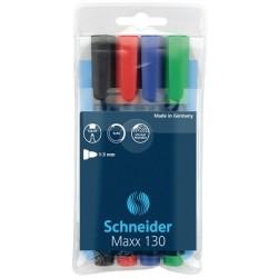 Permanent marker SCHNEIDER Maxx 130, varf rotund 1-3mm, 4 culori/set - (N, R, A, V)