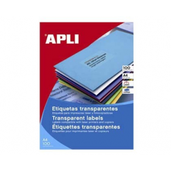ETICHETE AUTOADEZIVE TRANSPARENTE APLI A4, 20 coli/top, colturi drepte
