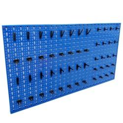 Panou metalic de perete pentru scule 960x480 mm, echipat cu 52 carlige, albastru, Plus