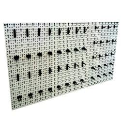 Panou metalic de perete pentru scule 960x480 mm, echipat cu 52 carlige, gri, Plus