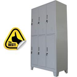 VESTIAR METALIC CU PICIOARE SI 6 USI MAXI (3x2) 1200x500x1920 mm (LxlxH), neasamblat, PLUS