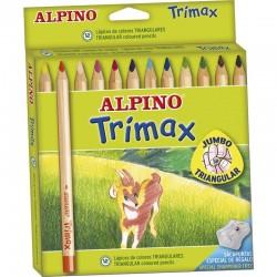 Creioane colorate triunghiulare, cutie carton, 12 culori/set, ALPINO Trimax Jumbo